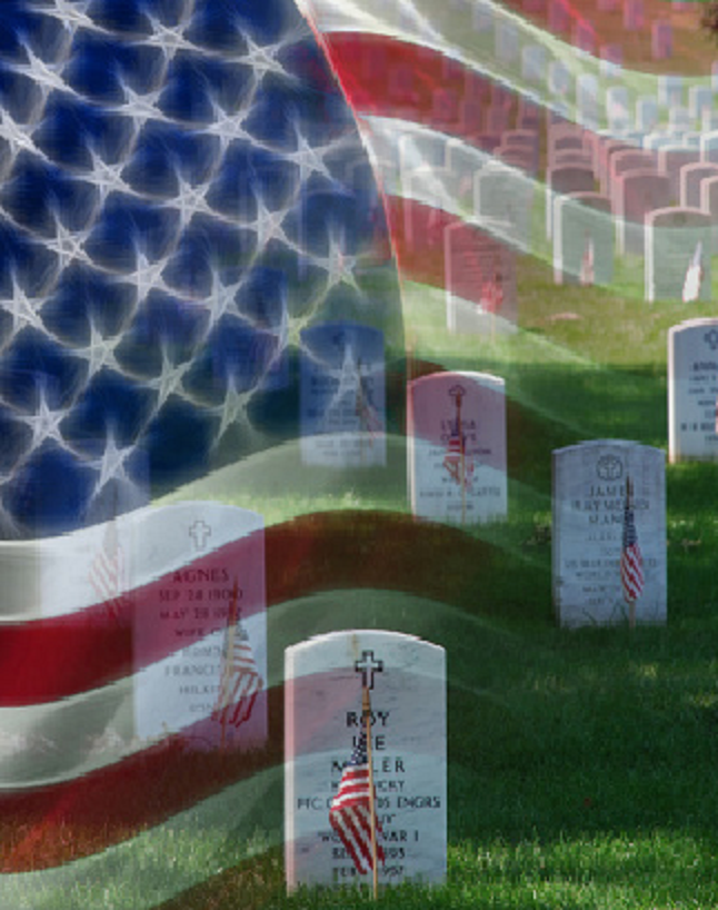 flag and cemetery image